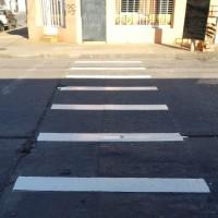 Demarcación vial en el barrio Pueblo Nuevo